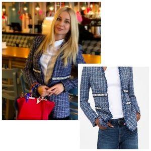 Zara Jackets & Coats - Zara Basic NWT Blue tweed pearl blazer size XL